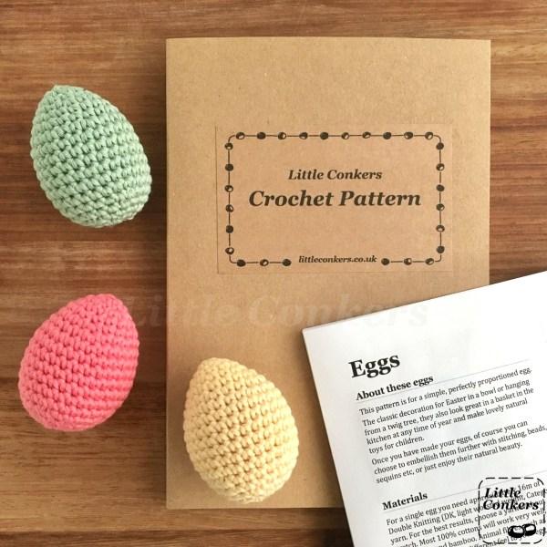Crochet eggs pattern by Little Conkers