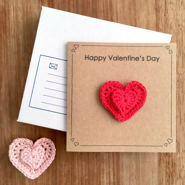 Recycled kraft Valentines Day card with removable heart brooch