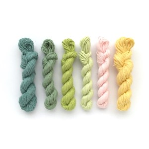 Mini yarn skeins in spring colours