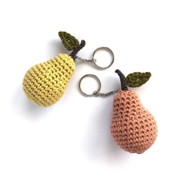 Crocheted pear keychains