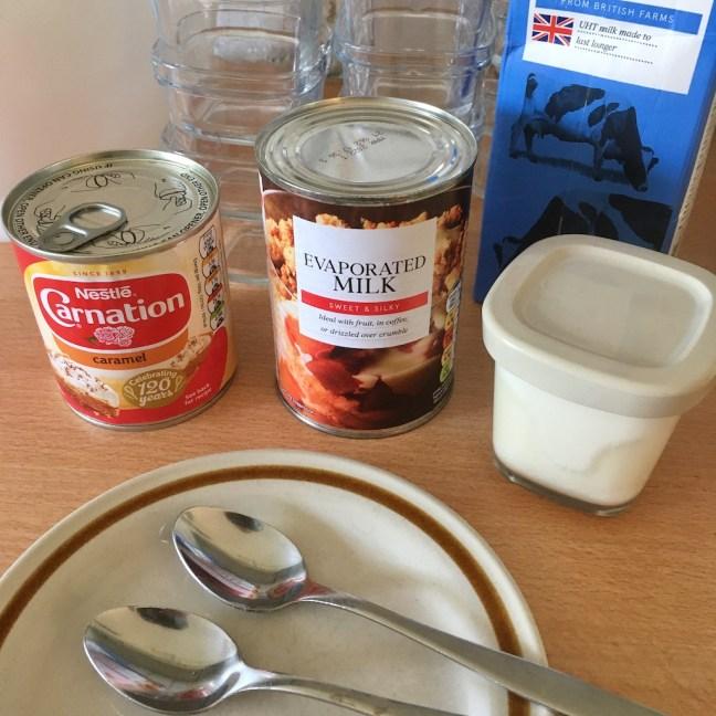 ingredients for caramel yoghurts