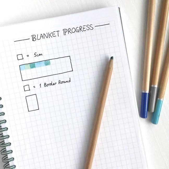 Página de diário com marcadores para acompanhar o progresso em uma manta de crochê