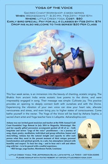 Ashana Sophia Music Yoga of the Voice Poster Feb 24th 2016