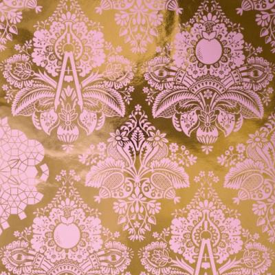 Metallic Pink and Gold Damask Wallpaper | Little Crown Interiors Shop