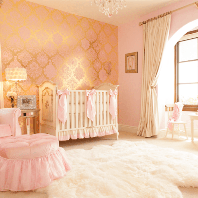 Pink and Gold Damask Wallpaper with Ivory and Pink Silk Crib Bedding | Little Crown Interiors Shop