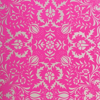 Dauphine Hot Pink Damask Wallpaper | Little Crown Interiors Shop