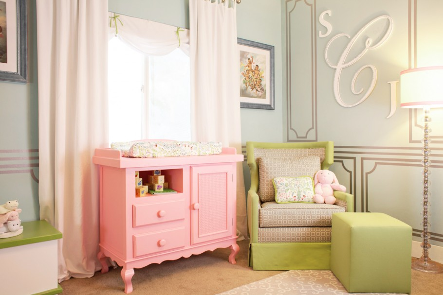 Laila Ali's Nursery featuring a pink painted dresser by Newport Cottages | Little Crown Interiors