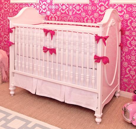 White & Hot Pink Crib Bedding Set