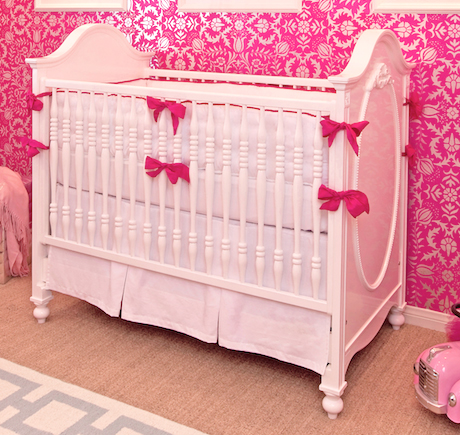 hot pink white crib bedding