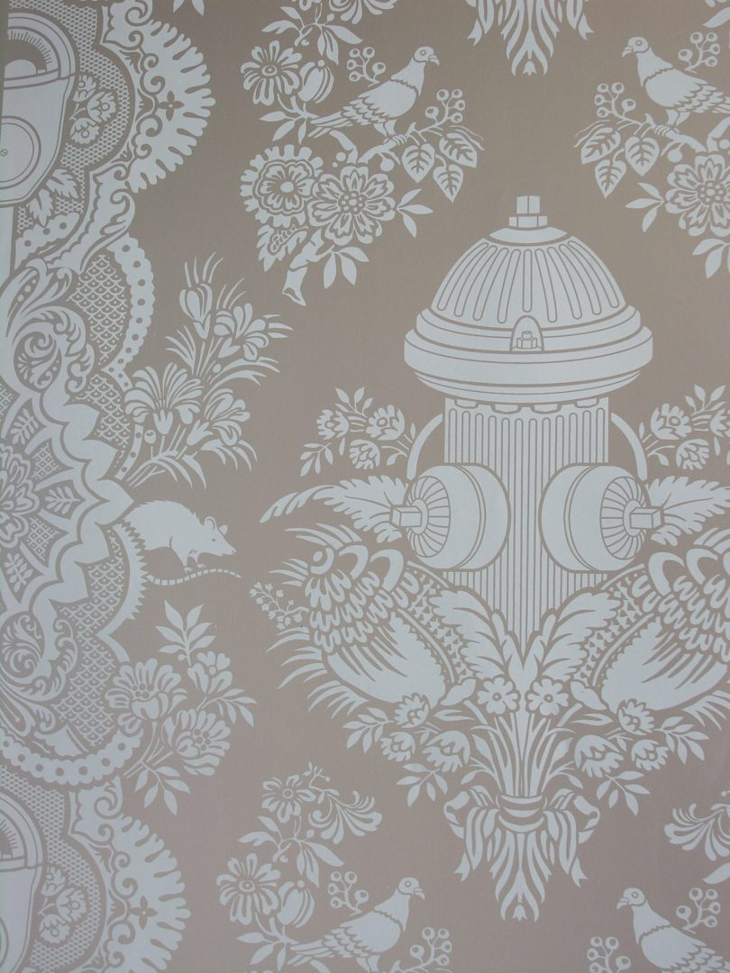 Boy's Damask Wallpaper in Sage and Taupe