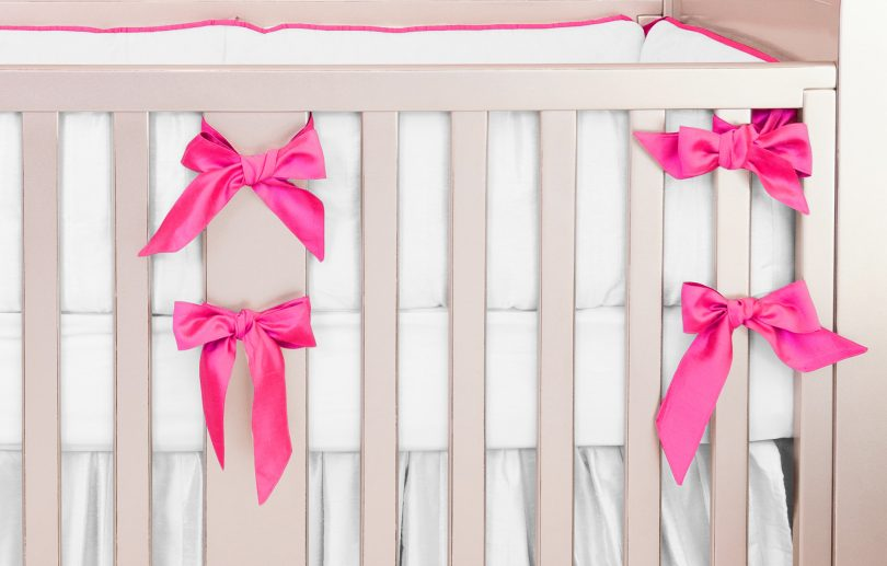 Hot Pink Silk Crib Bedding Set