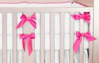 Hot Pink Silk Crib Bedding Set | Little Crown Interiors