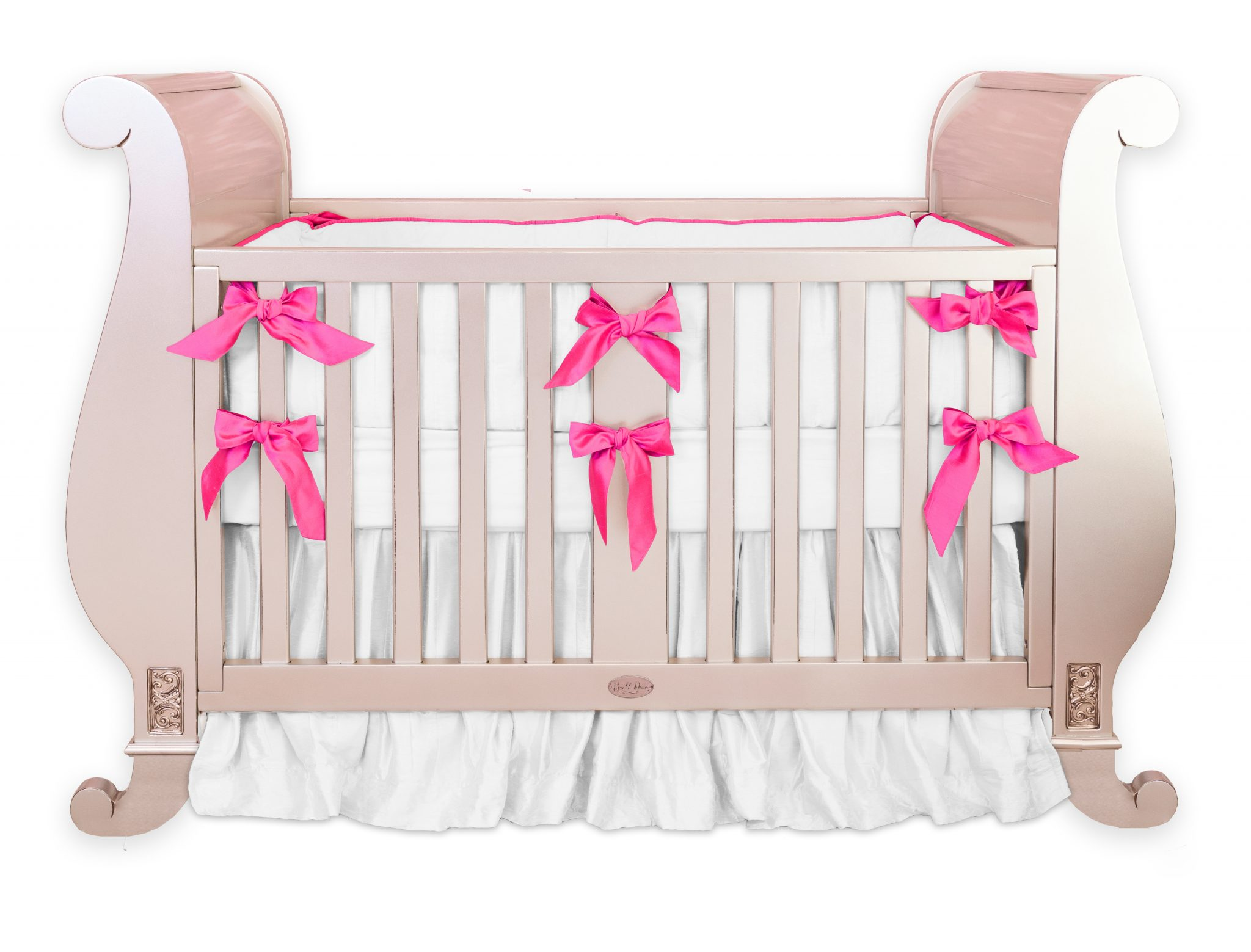 Hot Pink Silk Crib Bedding Set
