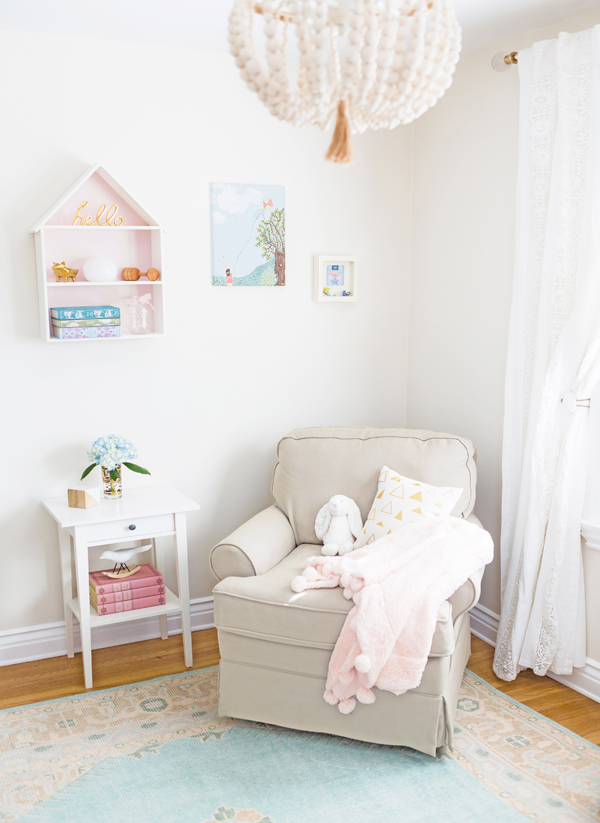 Neutral Pastel Nursery Glider | Little Crown Interiors