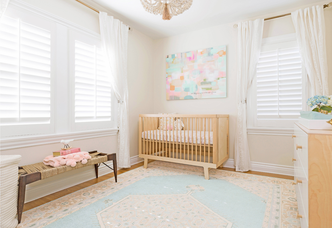 Feminine Pastel Nursery by Little Crown Interiors
