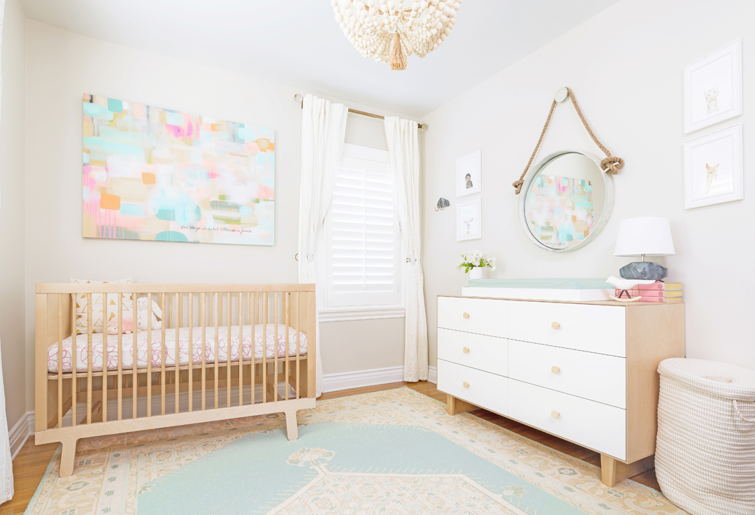 Girl's Feminine Pastel Nursery by Little Crown Interiors