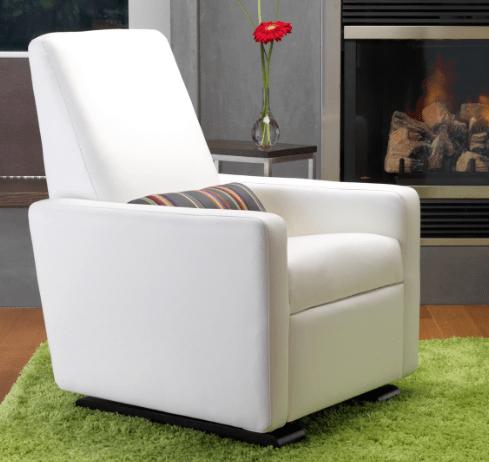 White Leather Glider   Little Crown Interiors