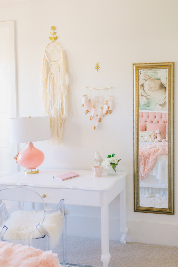 White and Pink Girl's Bedroom | Little Crown Interiors
