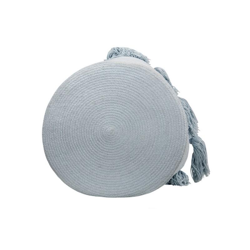 Soft Blue Cotton Storage Basket with Tassels