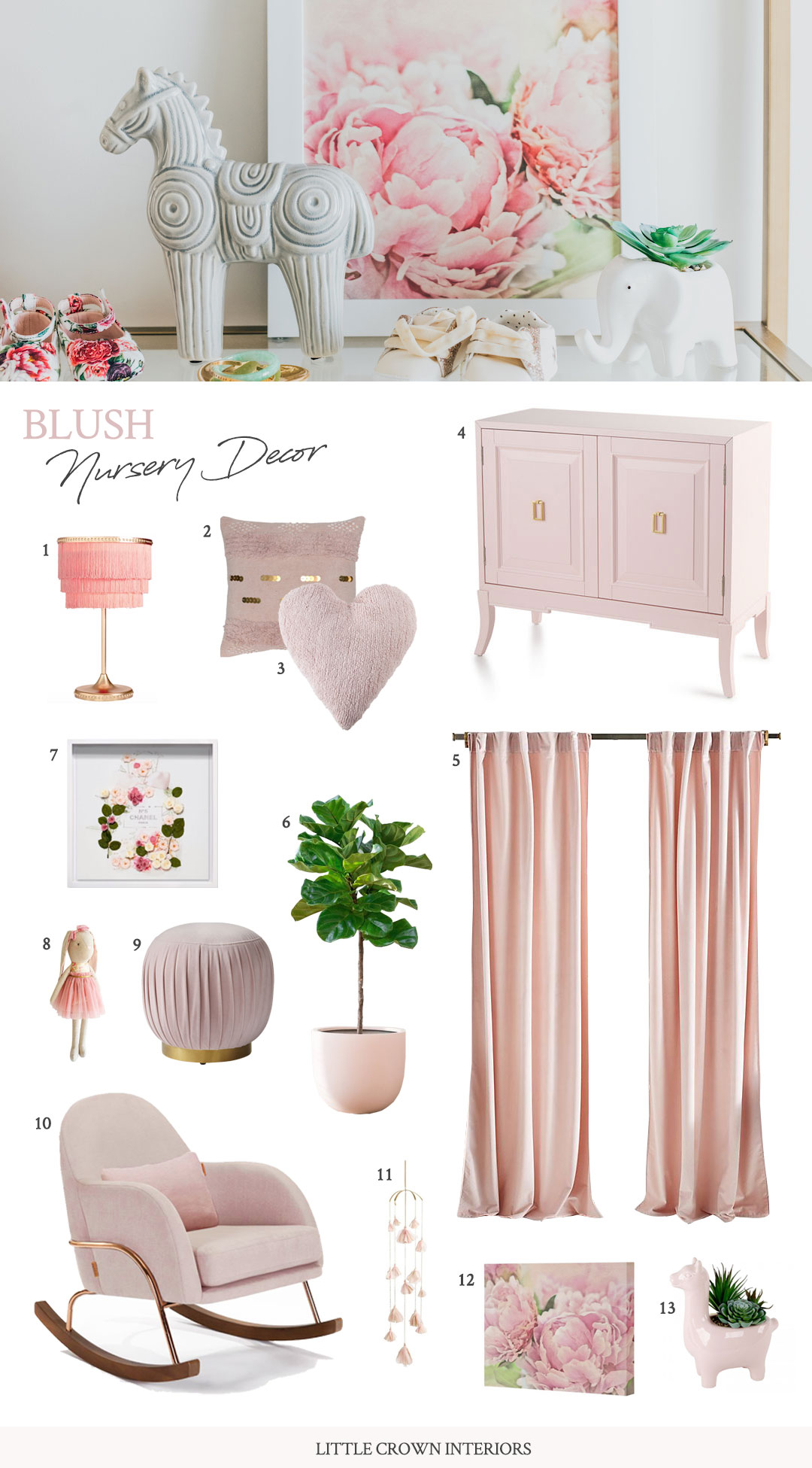 Blush Pink Nursery Decor | Little Crown Interiors