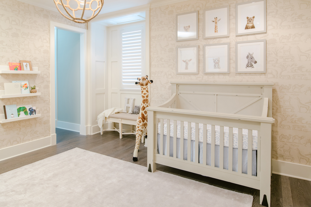 Neutral Safari Wallpaper Nursery by Little Crown Interiors