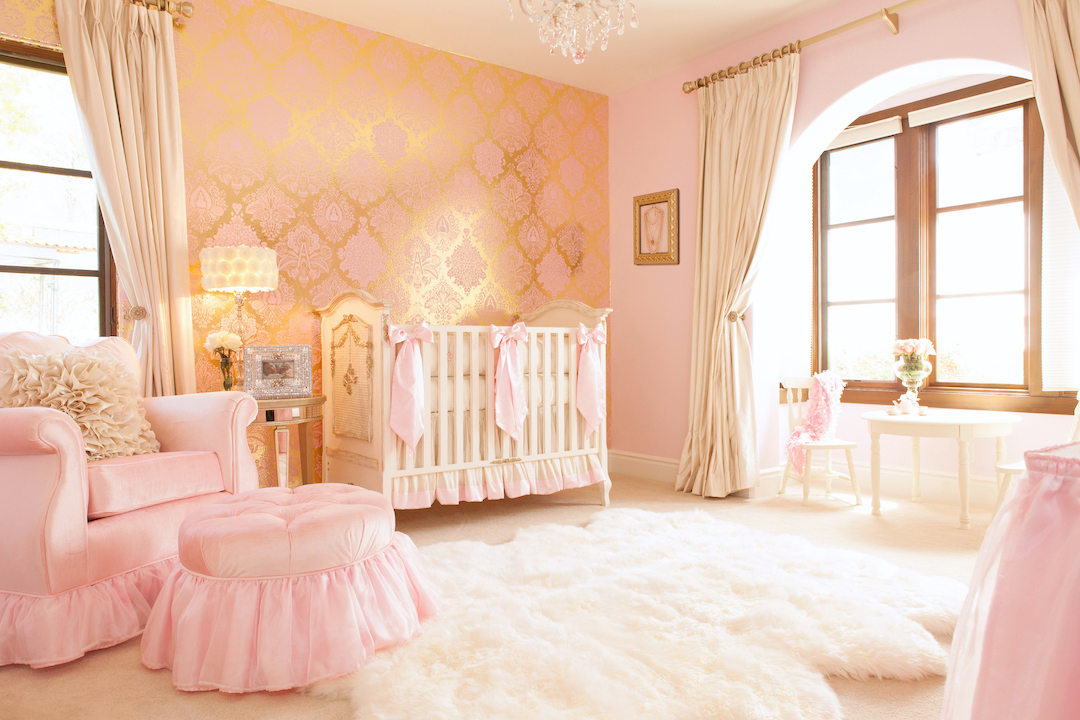 Pink and gold girl's nursery
