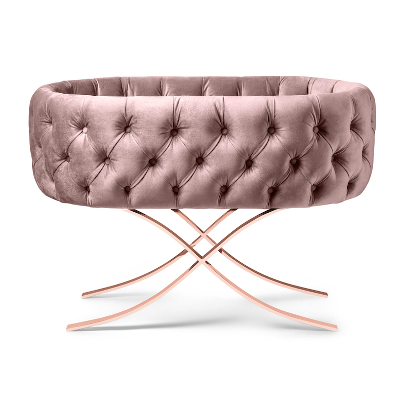 Blush Velvet Bassinet with Rose Gold Base