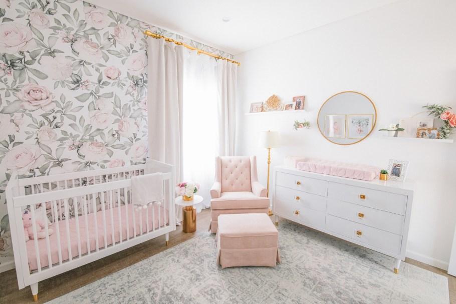 Blush Floral Nursery Design Los Angeles