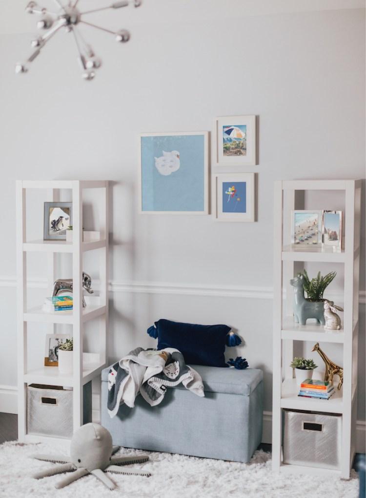 Navy Modern Nursery Storage by Little Crown Interiors