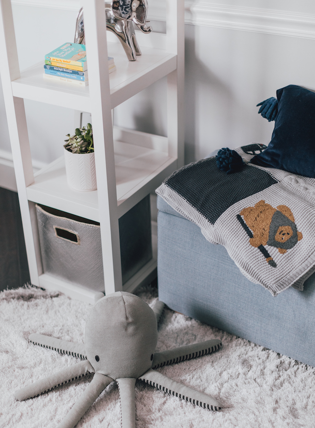 Navy Modern Nursery Storage by Little Crown Interiors