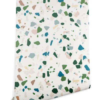 Blue & Green Terrazzo Removable Wallpaper