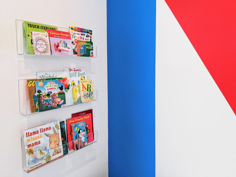 Colorful Modern Playroom Book Storage