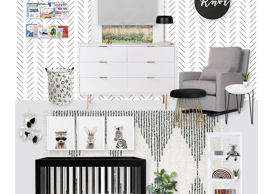 A Modern Black and White Nursery E-Design Reveal