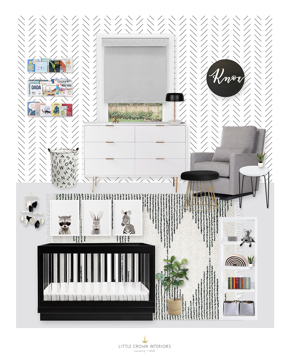 Black and White Nursery E-Design by Little Crown Interiors