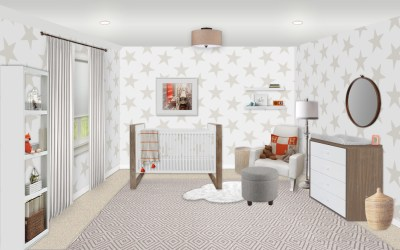 Neutral Nursery E-Design Reveal with Star Wallpaper