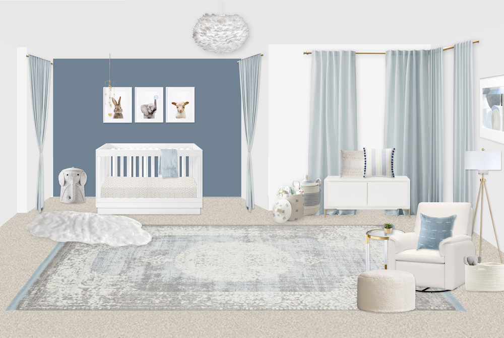 Slate Blue Boy's Nursery Design by Little Crown Interiors