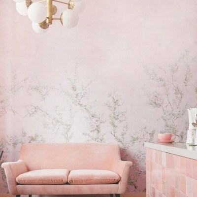 Pink Floral Vines Wall Mural