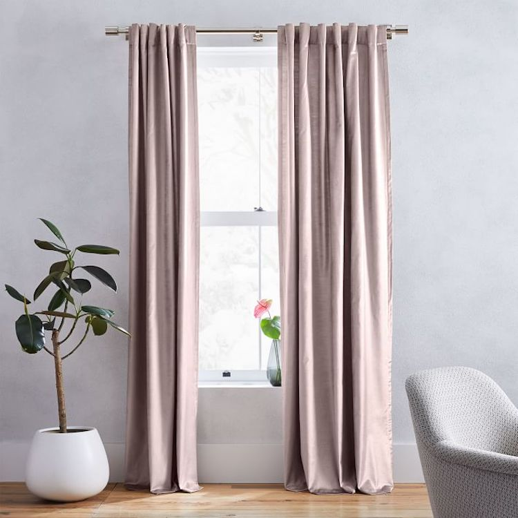 Blush Cotton Luster Velvet Curtain Panel