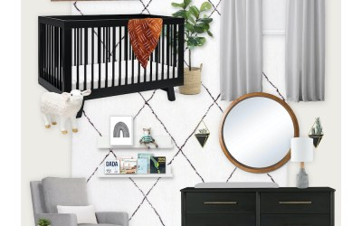 A Gender Neutral Nursery E-Design with Black Accents