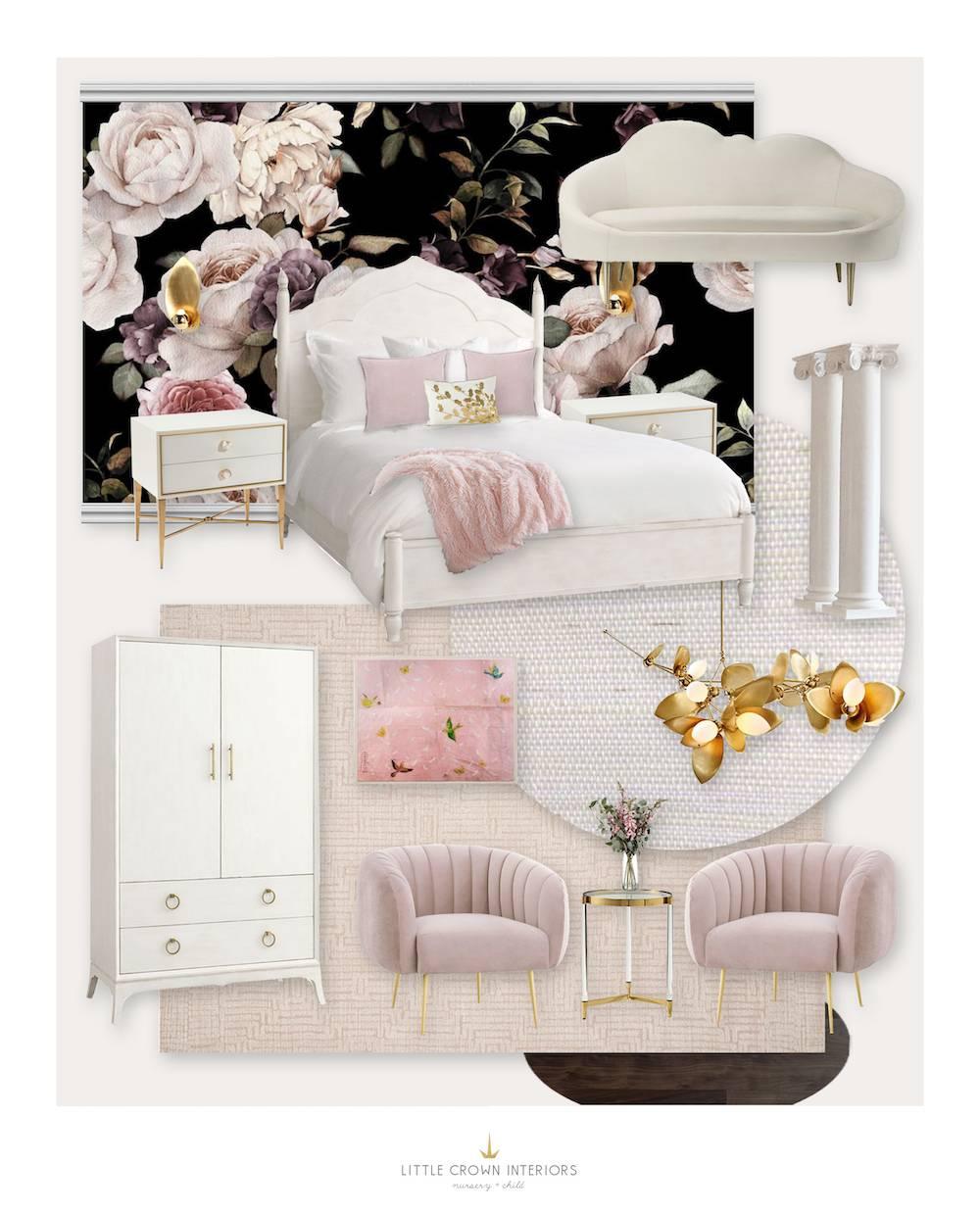 Glamorous Floral Girls Room E-Design