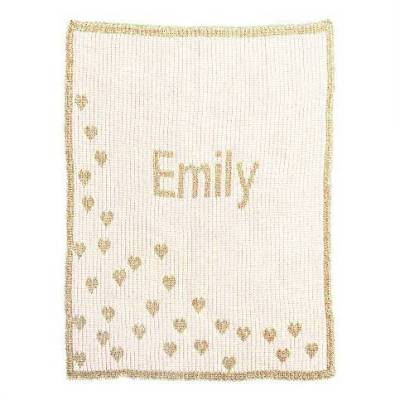 Metallic Hearts Monogram Baby Blanket