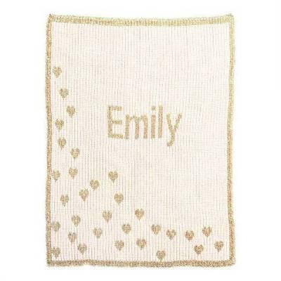 Metallic Hearts Monogram Baby Blanket