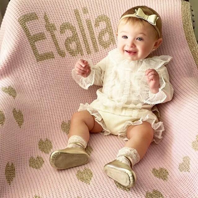 Metallic Monogram Baby Blanket