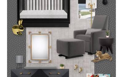 E-Design Reveal: A Bold Black, Gold and Gray Nursery