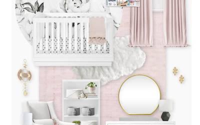 E-Design Reveal: Black and White Floral Blush Nursery