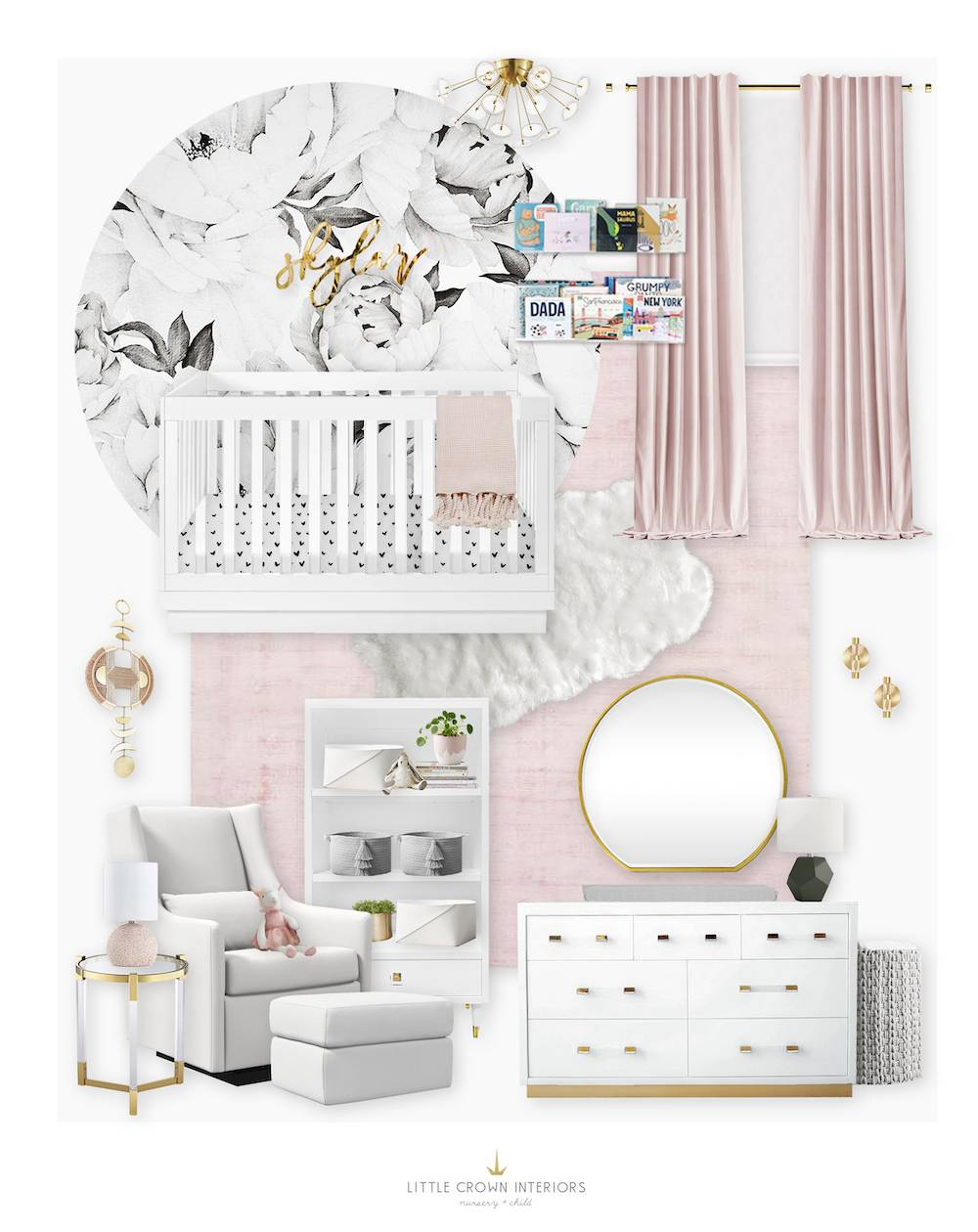 Black and White Floral Nursery with Blush and Gold Details