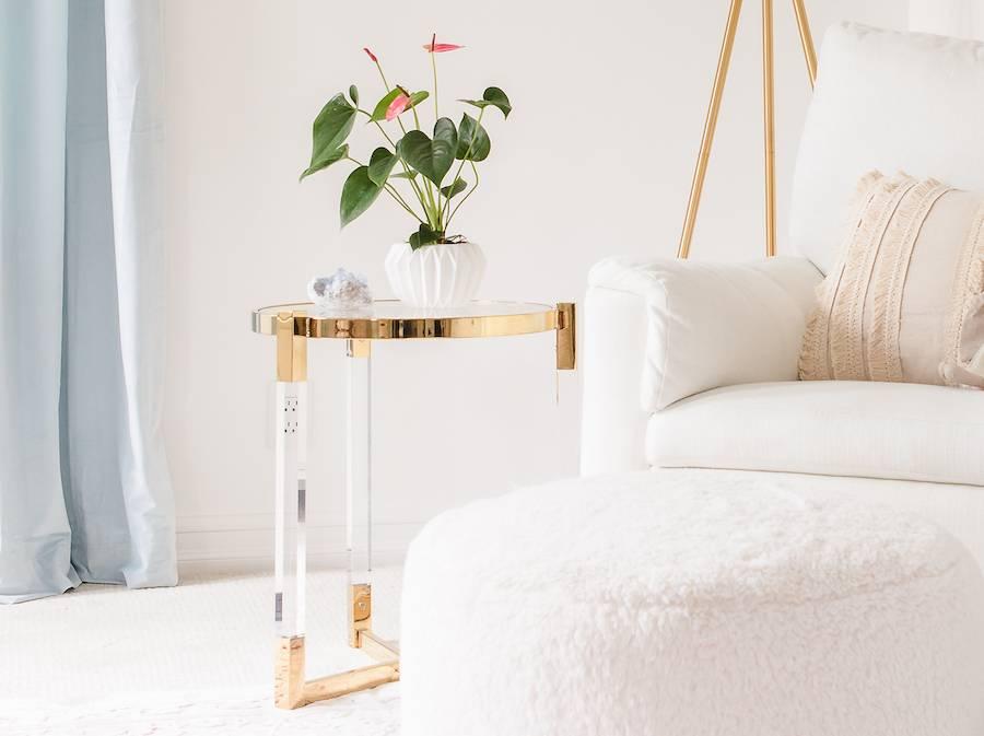 Acrylic & Gold Side Table for the Nursery