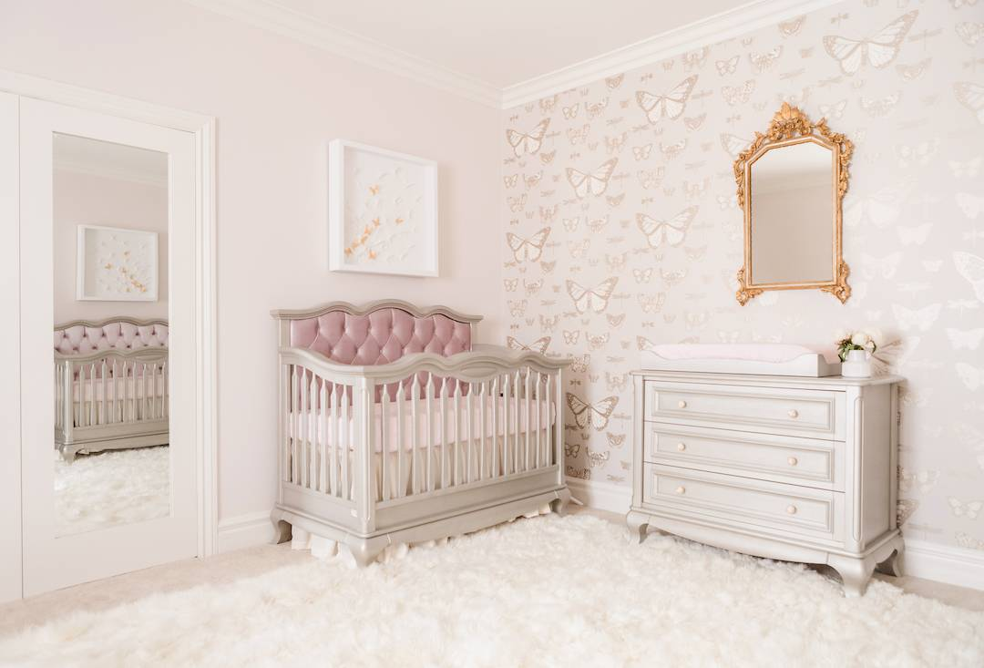 Butterfly Theme Nursery with Mauve and Gold