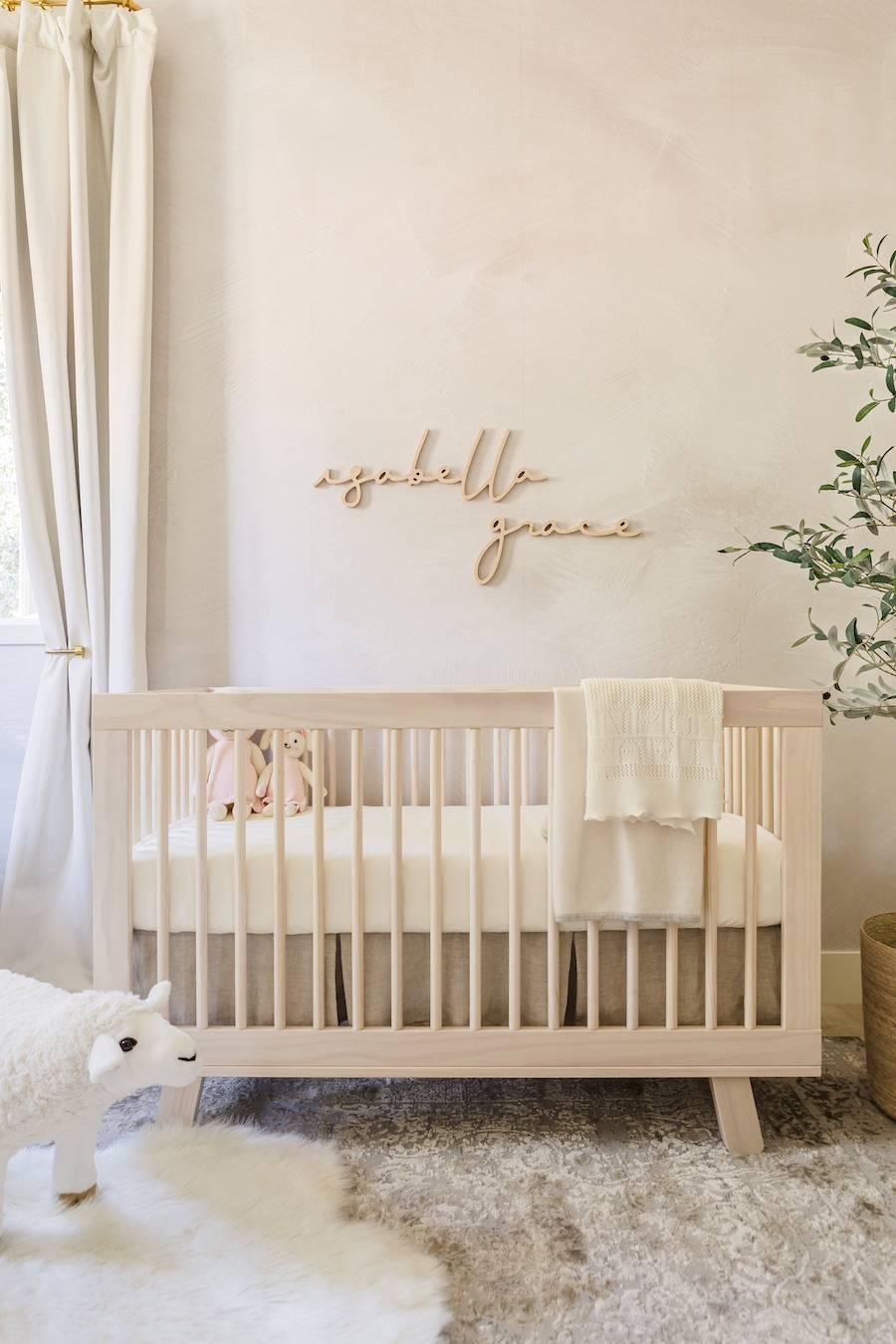 Natural & Neutral Nursery Design Wood Crib