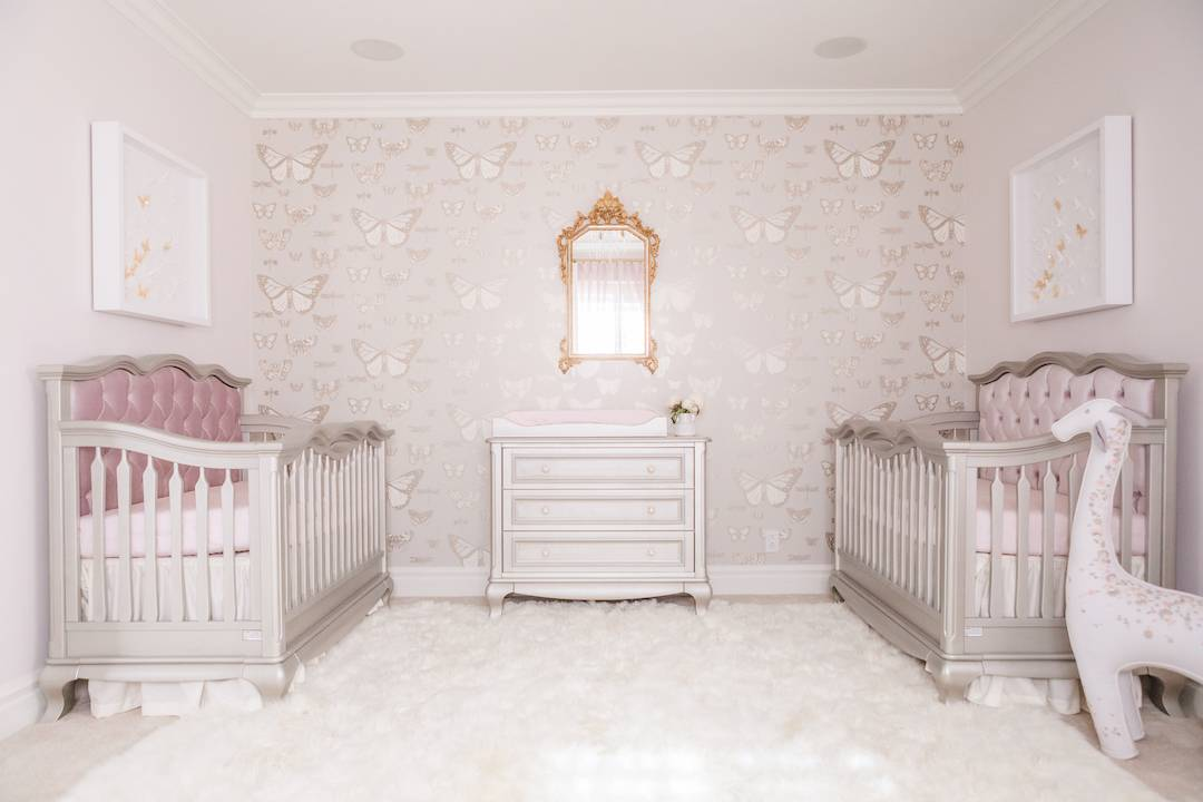 Girl's Butterfly Theme Nursery for Twins
